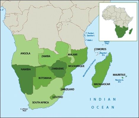 Map of Southern Africa